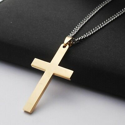 Stainless Steel Plain Silver Jesus Cross Crucifix Pendant Necklace Mens & Womens 7