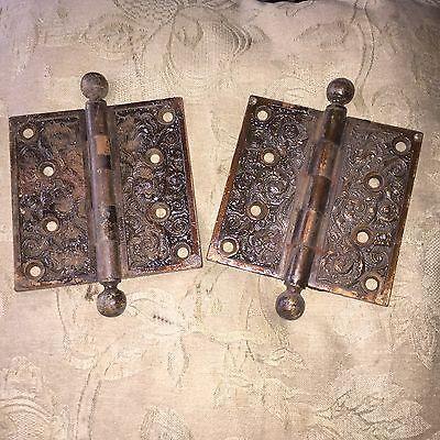 Antique Victorian Pair Of  Columbian Fox Head Pattern Solid  Door Hinges 2