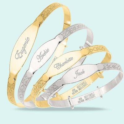 Personalised Christening Bangle Baby Toddler Children's Real 925 Silver Bracelet 2