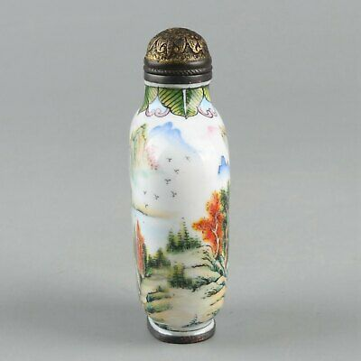 Chinese Exquisite Handmade landscape copper Enamel snuff bottle 4