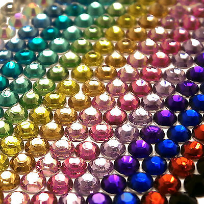 2000 Choose Colour Crystal Flat Back Nail Art Face Festival Rhinestones Gems 2