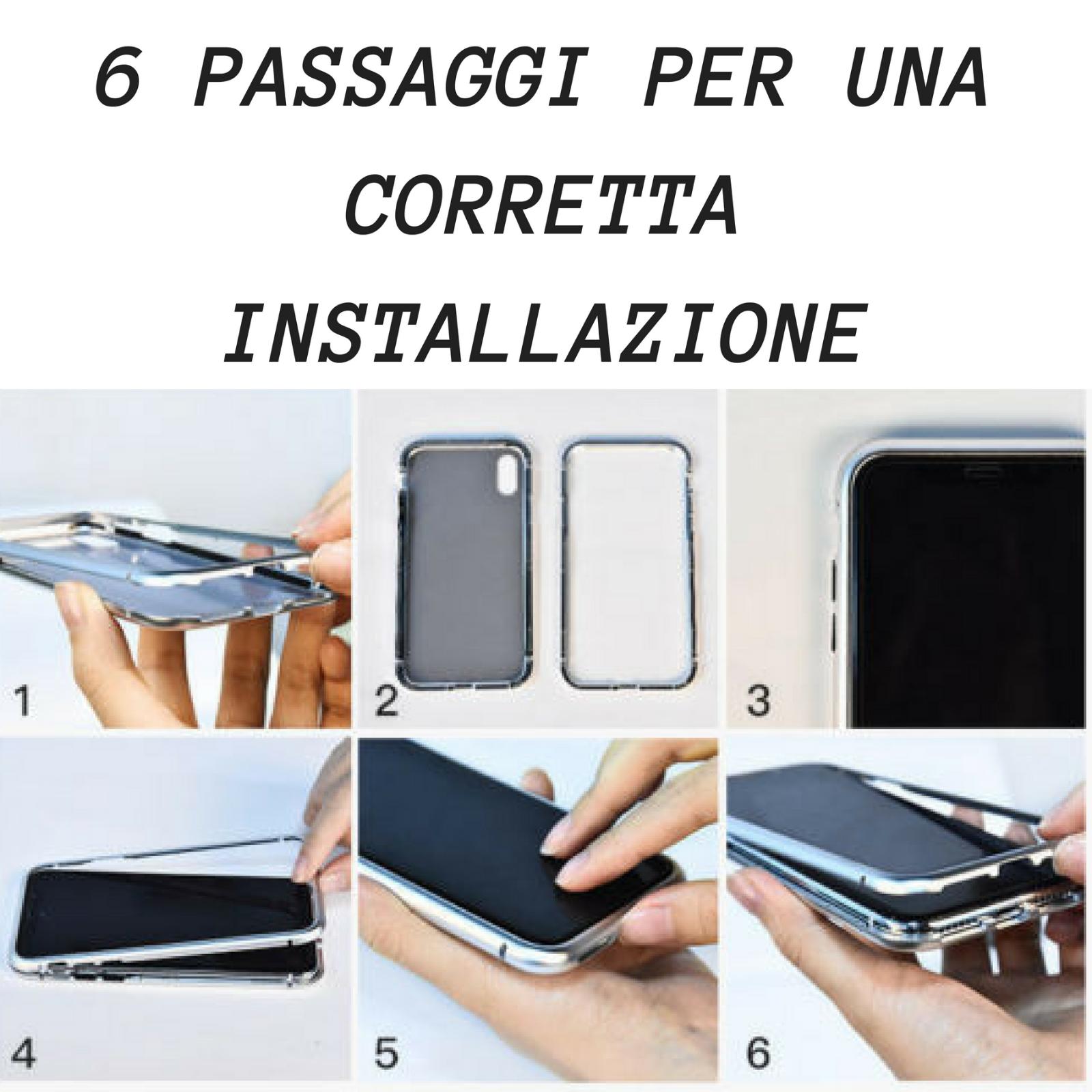 Cover Custodia Magnetica Alluminio Vetro Temperato Apple Iphone 6 6S 7 8 X Xs Xr 7