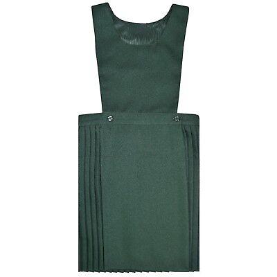 Girls Kids School Pleated Plain Bib Pinafore Dress Uniform Age 2-18 Black Grey 4