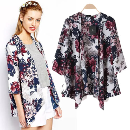 Womens Boho Floral Beach Cover Up Kimono Cardigan Jacket Tops Blouse Shawl 11