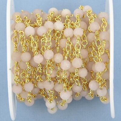 13 feet MATTE WHITE AGATE Rosary Chain 4mm round gemstone, frosted fch1007b 2