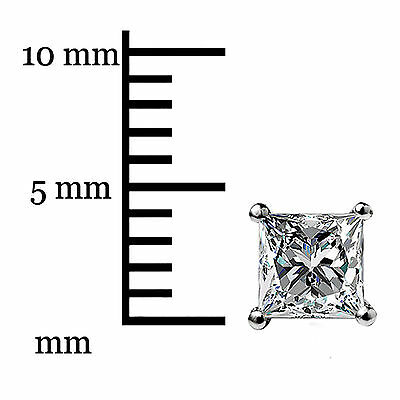 1.05Ct Princess cut Solitaire Stud Earrings Lab Diamond 14k White Gold Screwback 7