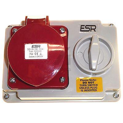 32 Amp 4 Pin Interlock Socket Switch 380V 415V 3P+E Weatherproof IP44 32A Red
