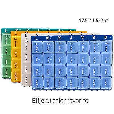 Pastillero Semanal Organizador Medicamento 7 Dias 28 Compartimentos Pillbox 3