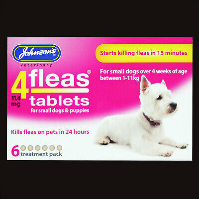 Johnsons 4Fleas 6 Tablet Pack Starts To Kill Dog & Cat Fleas In 15 Minutes-Rspca 6