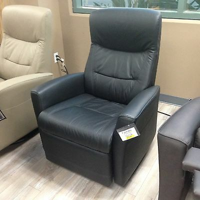 ... Fjords Oslo Swing Relaxer Power Electric Recliner Chair NL 101 Black  Leather 2