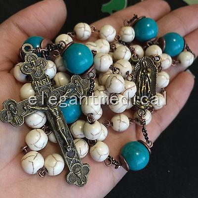 White Turquoise & bule Turquoise beads Vintage Catholic Rosary Cross Necklace 3
