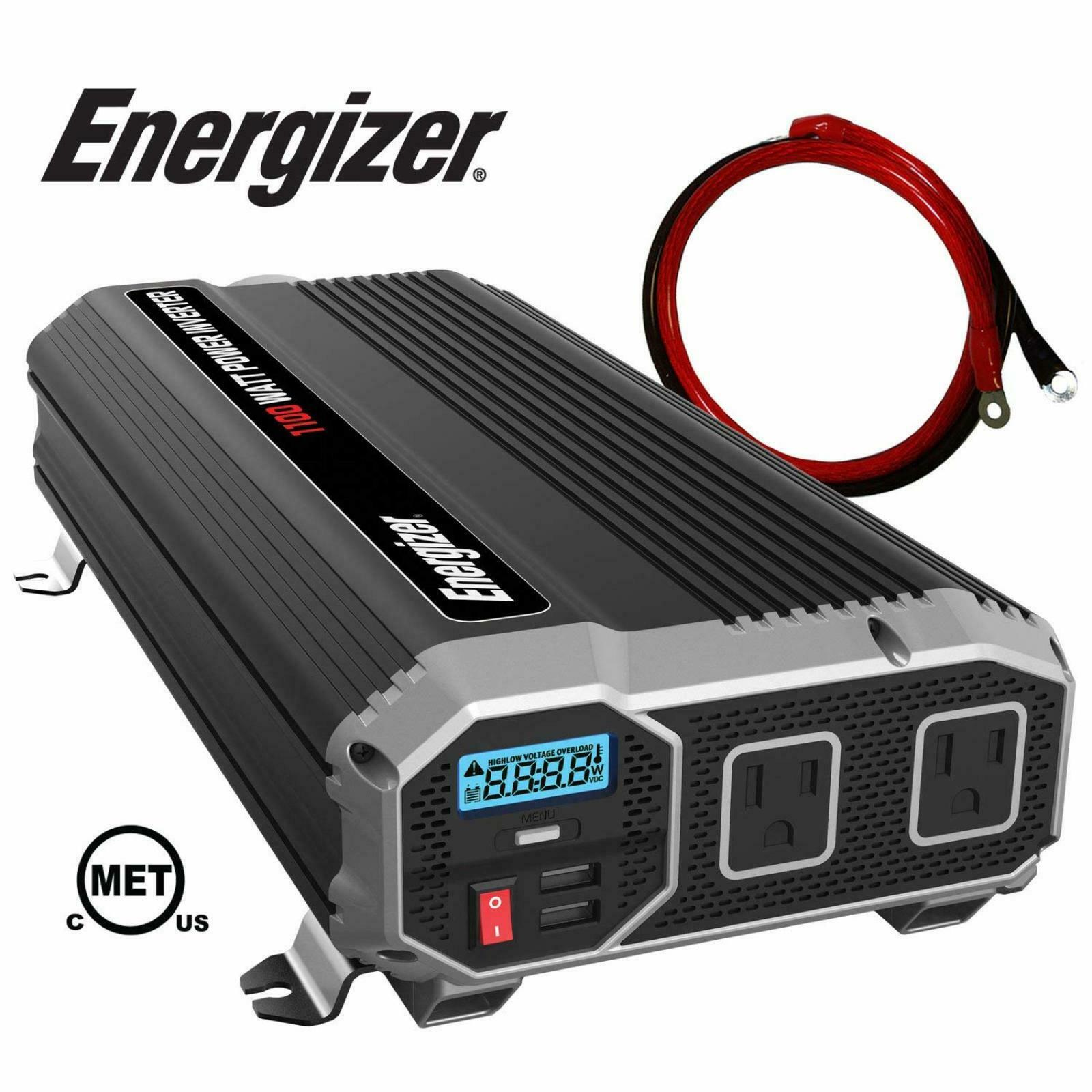 ENERGIZER 12V Power Inverter Dual AC Outlets Automotive Back Up Power Supply NEW 2