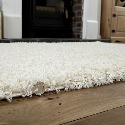 Modern Small Extra X Large Rug - Thick 5Cm Pile Cream Colour Shaggy Rugs 5