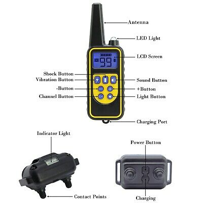 Dog Shock Training Collar Rechargeable Remote Control Waterproof IP67 875 Yards 9