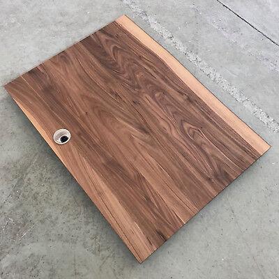 Schreibtischplatte holz  TISCHPLATTE PLATTE NUSSBAUM Massiv Holz mit 2x Baumkanten  Schreibtischplatte NEU