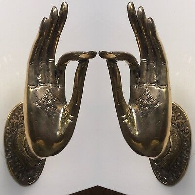 2 BUDDHA DOOR handle solid polished brass antique old style hand fingers 25 cm B 2