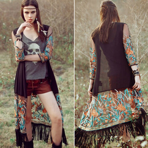 Womens Boho Floral Beach Cover Up Kimono Cardigan Jacket Tops Blouse Shawl 2