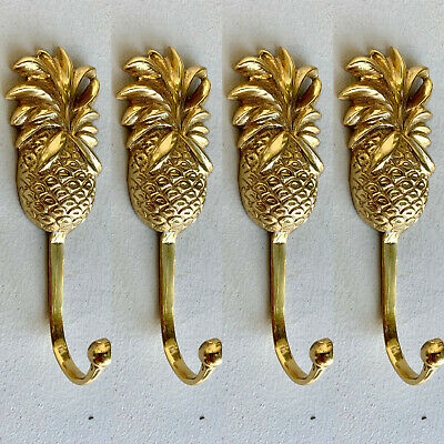 4 small PINEAPPLE BRASS HOOK COAT WALL MOUNT HANG old style 12 cm polished B 2