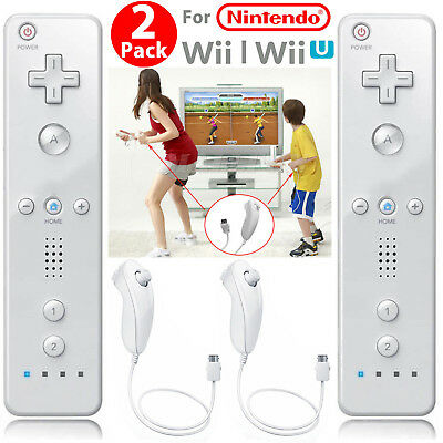 Remote Wiimote Nunchuck Controller Set Combo for Classic Wii Wii U Games White 10