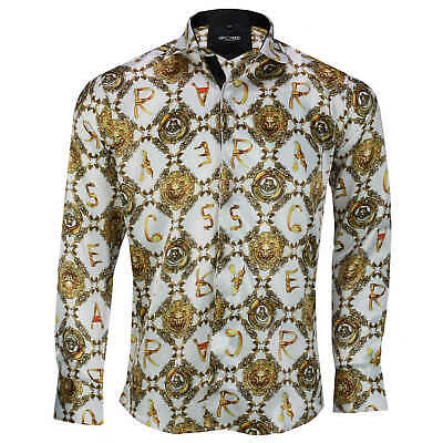 Mens Retro Gold Print on White Italian Designer Style Silky Feel Dress Shirt 2