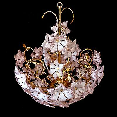 Stunning XL Large Vintage Italian Murano Pink Flower Venini Art-Glass Chandelier 5