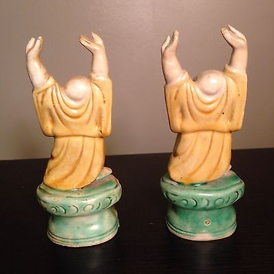 PAIR Fine Old Chinese Ceramic Glazed Buddhas Raised Hands Robed Standing Statues 8