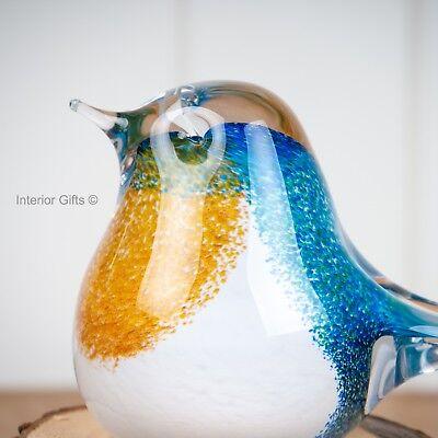 GLASS BLUE TIT BIRD SCULPTURE Paperweight Ornament Figurine Garden Country Gift 3