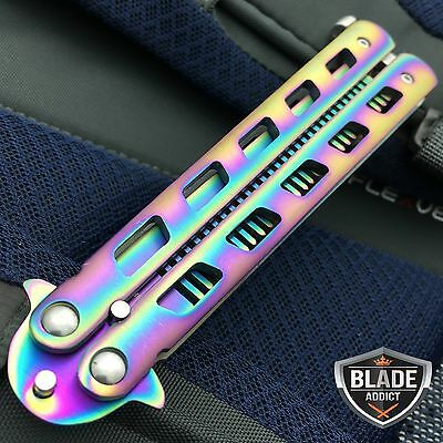 High Quality Rainbow BALISONG METAL BUTTERFLY COMB Trainer Dull Knife Blade NEW