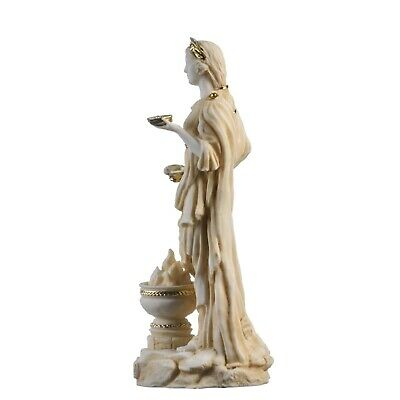 """Hestia Goddess of the hearth, home family, and the state Statue Gold Tone 8.66"""" 3"""