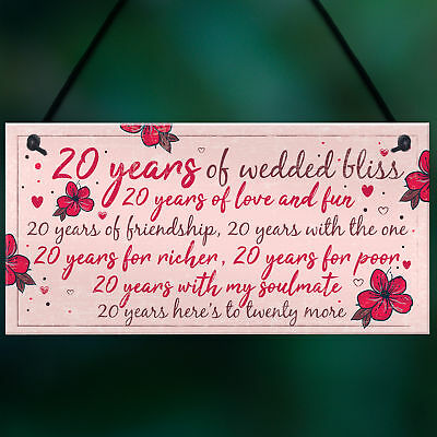 20TH WEDDING ANNIVERSARY Card Gift For