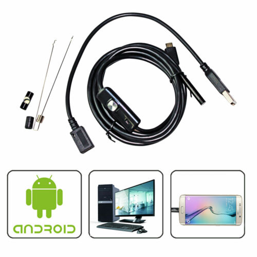 5M Android  Endoscope 7mm 6LED USB Waterproof Borescope Inspection camera For S8