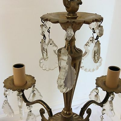 Antique Style Brass and Crystal Chandelier 3