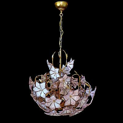 Stunning XL Large Vintage Italian Murano Pink Flower Venini Art-Glass Chandelier 6