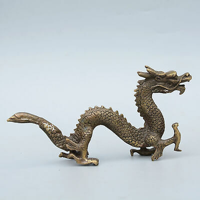 Qianlong Years Collectable Old Copper Hand-Carved Myth Dragon Auspicious Statue 2