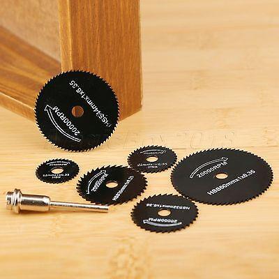 6pc HSS Circular Saw Disc Cutting Blade Kit with 1 Mandrel Drills Rotary Tools 10