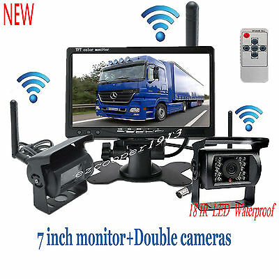 """2 X Wireless Rear View Backup Camera Night Vision + 7"""" Monitor For RV Truck Bus"""
