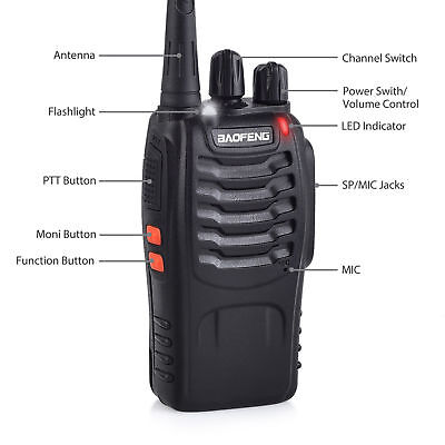 4x Portable Walkie Talkie UHF 400-470MHz 16CH BF-888S Two-Way Radio 5 kilometers 3