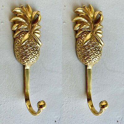4 small PINEAPPLE BRASS HOOK COAT WALL MOUNT HANG old style 12 cm polished B 3