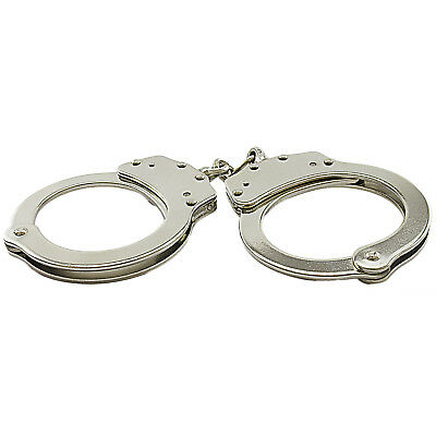 New Nickle Plated Double Lock Police Hand Cuffs W/ Keys 4
