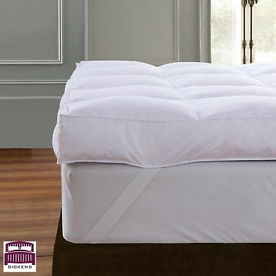 Goose Feather Down Mattress Topper Enhancer Luxury 10cm Deep Bed Protector Hotel 2