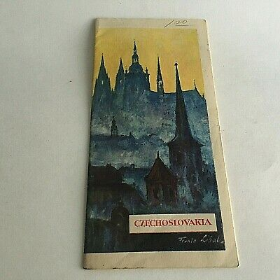 """Vintage 1960's Visitor's Guide Czechoslovakia Tourism 31.5"""" X 8"""" 9"""