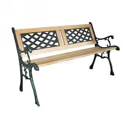 WestWood 3 Seater Outdoor Wooden Garden Bench Cast Iron Legs Park Seat Furniture 3