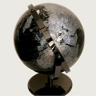 STUNNING HIGH QUALITY Double Axle World Globe Black Chrome Home Decor Gift 30cm 4