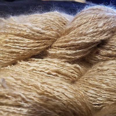CRAZY Handspun Satin Angora Yarn Natural Fawn 30 yds lace to fingering wt 2 ply 7