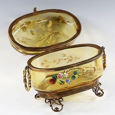 Antique Moser Bohemian amber art glass Casket hinged box enameled applied lizard 10