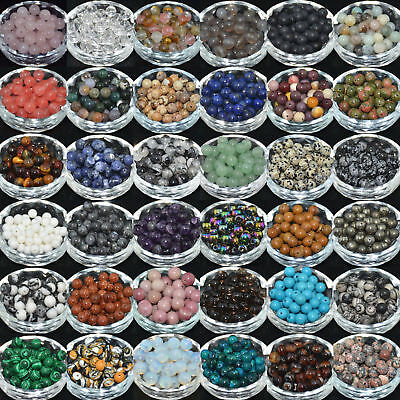 Natural Gemstone Round Spacer Loose Beads 4mm 6mm 8mm 10mm Assorted Stones DIY 6