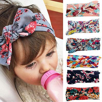 Girls Baby Bunny Bow Hairband Headband Stretch Turban Knot Head Wrap For Kids 3