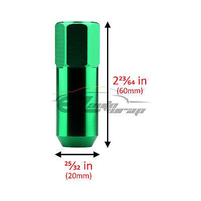 Green 20 PCS M12X1.5mm Lug Nuts Extended Tuner Aluminum Wheels Rims Cap WN02
