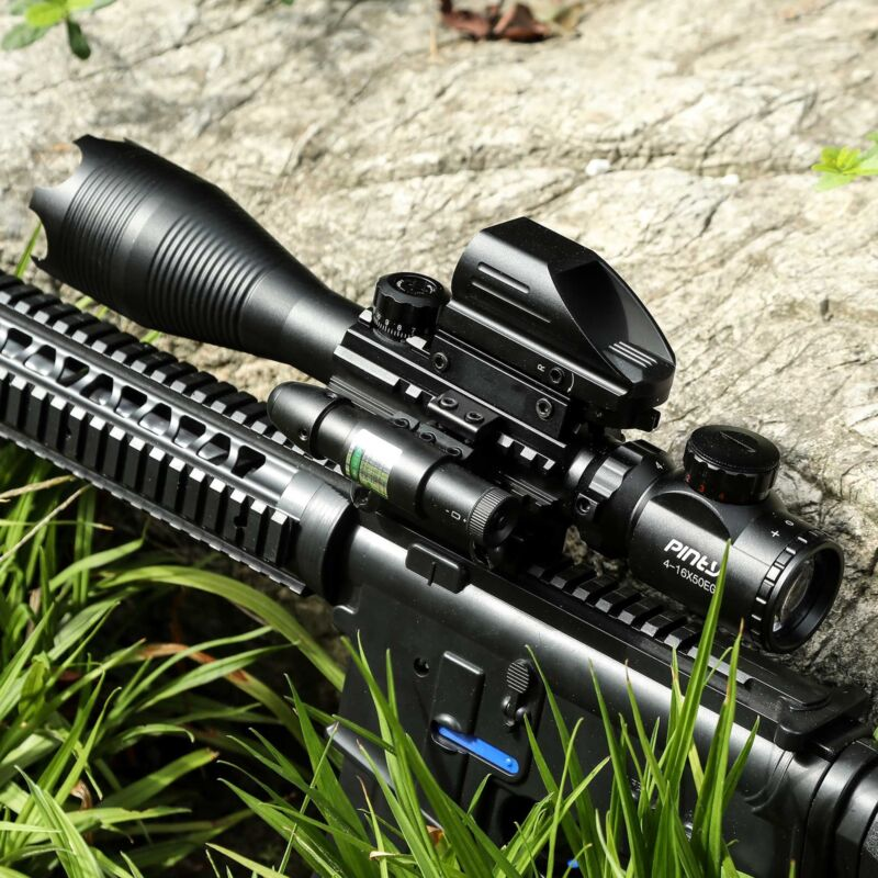 4-16x50 3in1 Combo Rangefinder Rifle Scope W/Green Laser &Reflex Dot Sight Scope 2