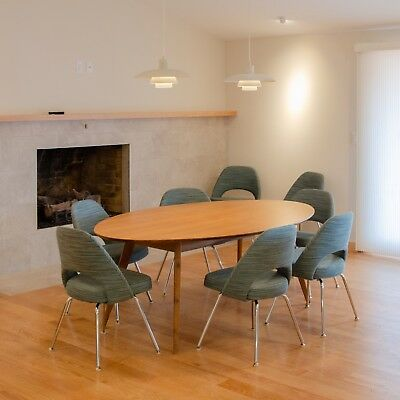 CUSTOM FLORENCE KNOLL Inch Oval Walnut Dining Conference Table - Custom tulip table